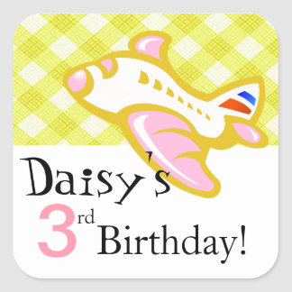 Gingham Airplane Birthday Party Favor pink yellow Sticker
