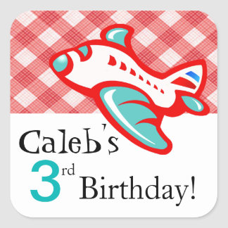 Gingham Airplane Birthday Party Favor | red teal Square Sticker