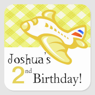 Gingham Airplane Birthday Party Favor | yellow Sticker
