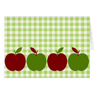 Gingham and Apples Greeting Cards