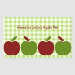 Gingham and Apples Rectangle Sticker