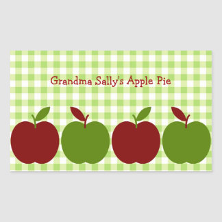 Gingham and Apples Rectangular Sticker