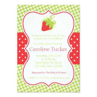 Gingham and Dots Strawberry Baby Shower Invitation