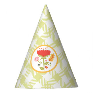 Gingham and Floral Birthday Hat