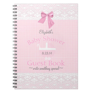 Gingham and Lace Image- Baby Shower Guest Book- Spiral Notebooks