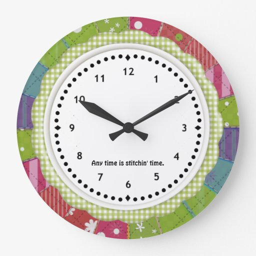 Gingham and Patchwork Quilter's Wall Clock