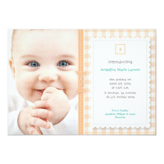 Gingham Baby Announcement: Peach 5x7 Paper Invitation Card