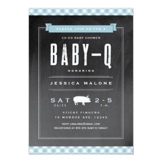 Gingham Baby BBQ co-ed shower invitation