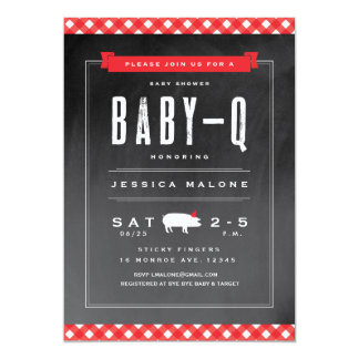 Gingham Baby BBQ shower invitation