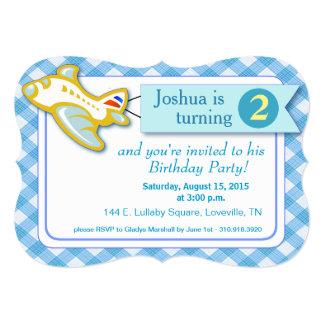 Gingham Banner Plane Birthday   blue 5x7 Paper Invitation Card