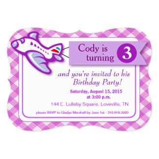 Gingham Banner Plane Birthday   lavender 5x7 Paper Invitation Card