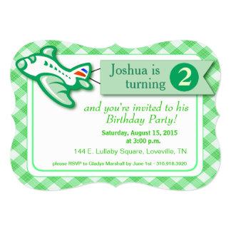 Gingham Banner Plane Birthday   mint green 5x7 Paper Invitation Card
