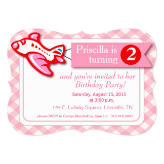 Gingham Banner Plane Birthday   pink red 5x7 Paper Invitation Card