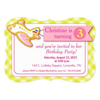 Gingham Banner Plane Birthday   pink yellow 5x7 Paper Invitation Card