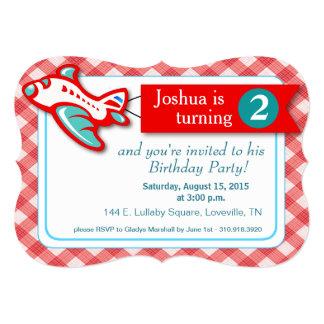 Gingham Banner Plane Birthday   red aqua 5x7 Paper Invitation Card