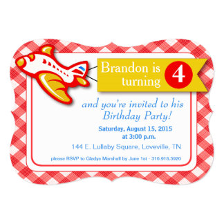 Gingham Banner Plane Birthday   red yellow 5x7 Paper Invitation Card