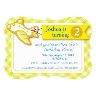 Gingham Banner Plane Birthday   yellow 5x7 Paper Invitation Card