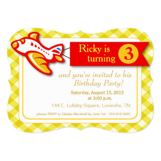 Gingham Banner Plane Birthday   yellow red 5x7 Paper Invitation Card