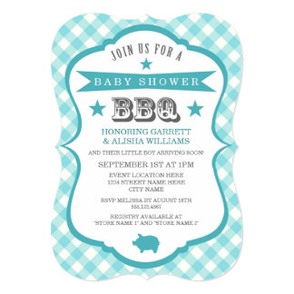 Gingham Barbecue Baby Shower Invitation / Aqua