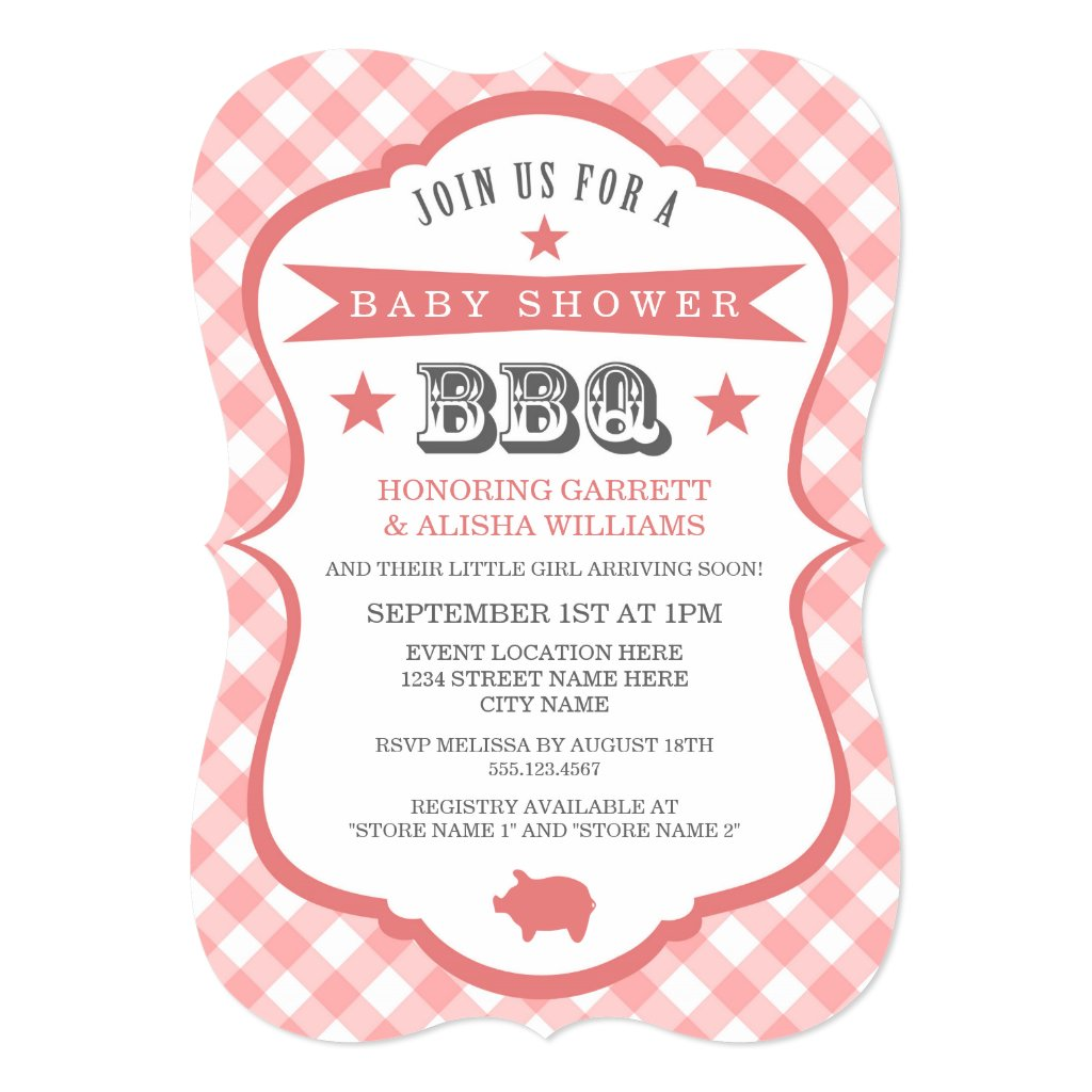 Gingham Barbecue Baby Shower Invitation / Coral