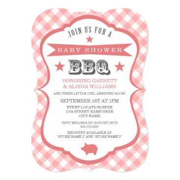 Toddler & Baby themed Gingham Barbecue Baby Shower Invitation / Coral