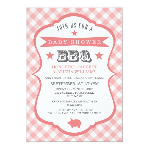Gingham Barbecue Baby Shower Invitation / Coral Invitations