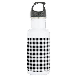Gingham Black and White Stainless Steel Water Bottle