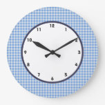 gingham blue and white check clock