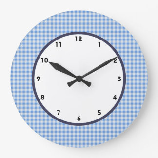 gingham blue and white check clock. Black Bedroom Furniture Sets. Home Design Ideas