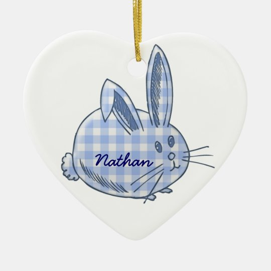 gingham bunny ceramic ornament