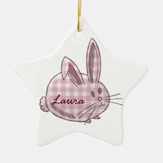 gingham bunny for girls ceramic ornament