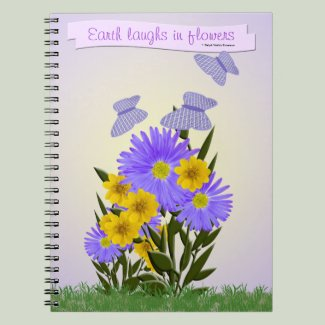 Gingham Butterflies and Wildflowers Spiral Notebook