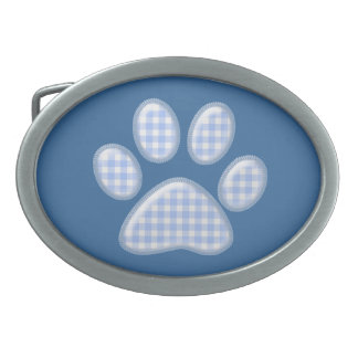 gingham cat paw - blue belt buckle