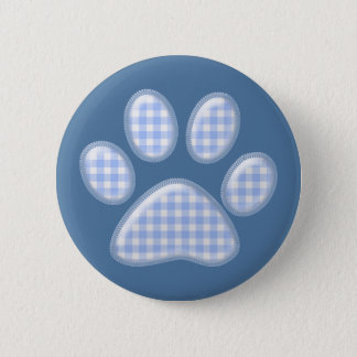 gingham cat paw - blue pinback button