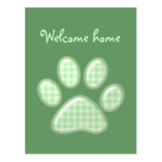 gingham cat paw - green postcard