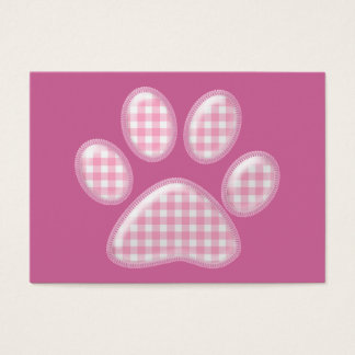 gingham cat paw - pink business card