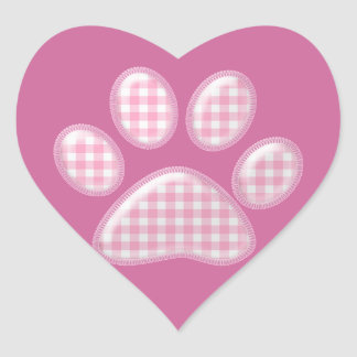 gingham cat paw - pink stickers