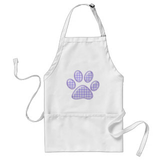 gingham cat paw - purple adult apron