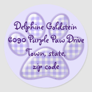 gingham cat paw - purple classic round sticker
