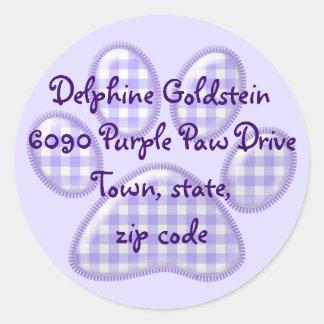 gingham cat paw - purple classic round sticker