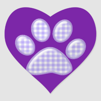 gingham cat paw - purple heart sticker