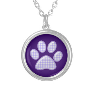 gingham cat paw - purple silver plated necklace