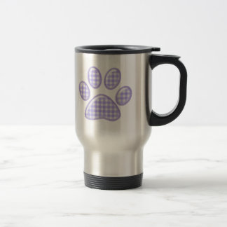 gingham cat paw - purple travel mug