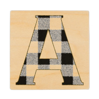 Gingham Check A Wood Coaster