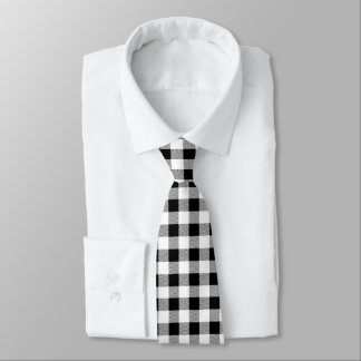 Gingham Check black and white Neck Tie