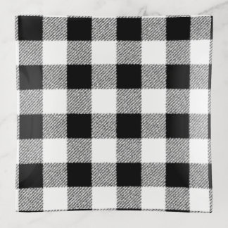 Gingham Check Black Trinket Trays