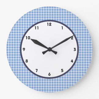 gingham check blue and white clock