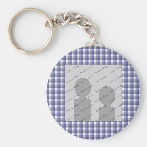 Gingham check. Blue, Gray, White. Photo Template. Keychains
