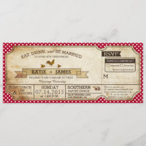 Gingham Check Country Picnic Wedding French Invitation