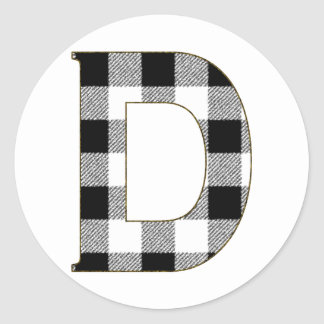 Gingham Check D Classic Round Sticker